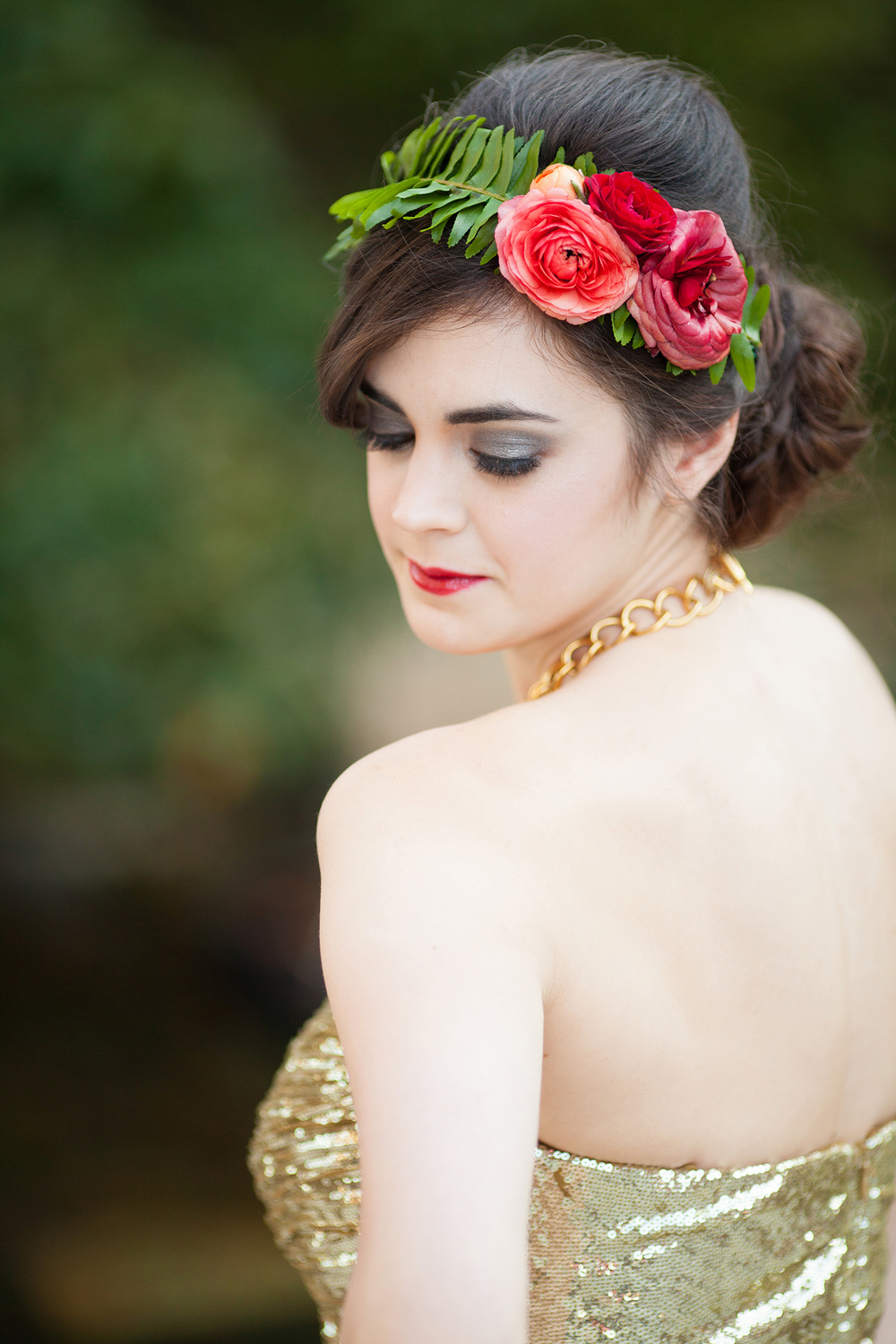 Red Ranunculus & Fern Floral Crown by Eclectic Sage