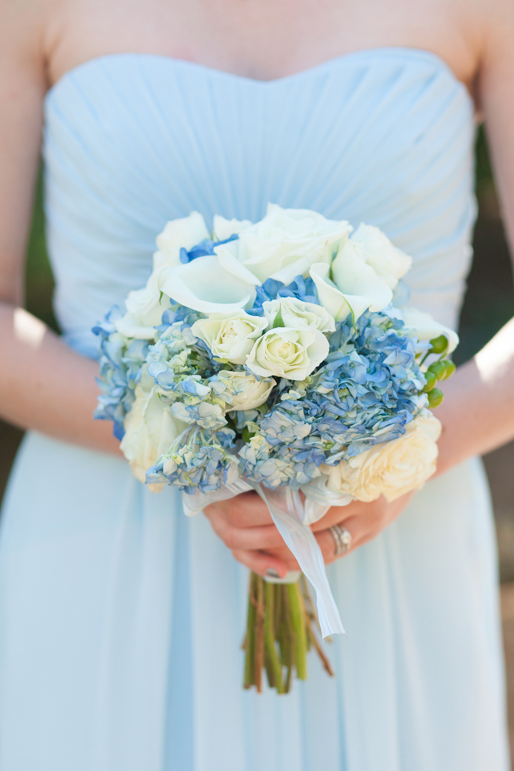 Carolina Blue Bouquet & Bridesmaid Dress