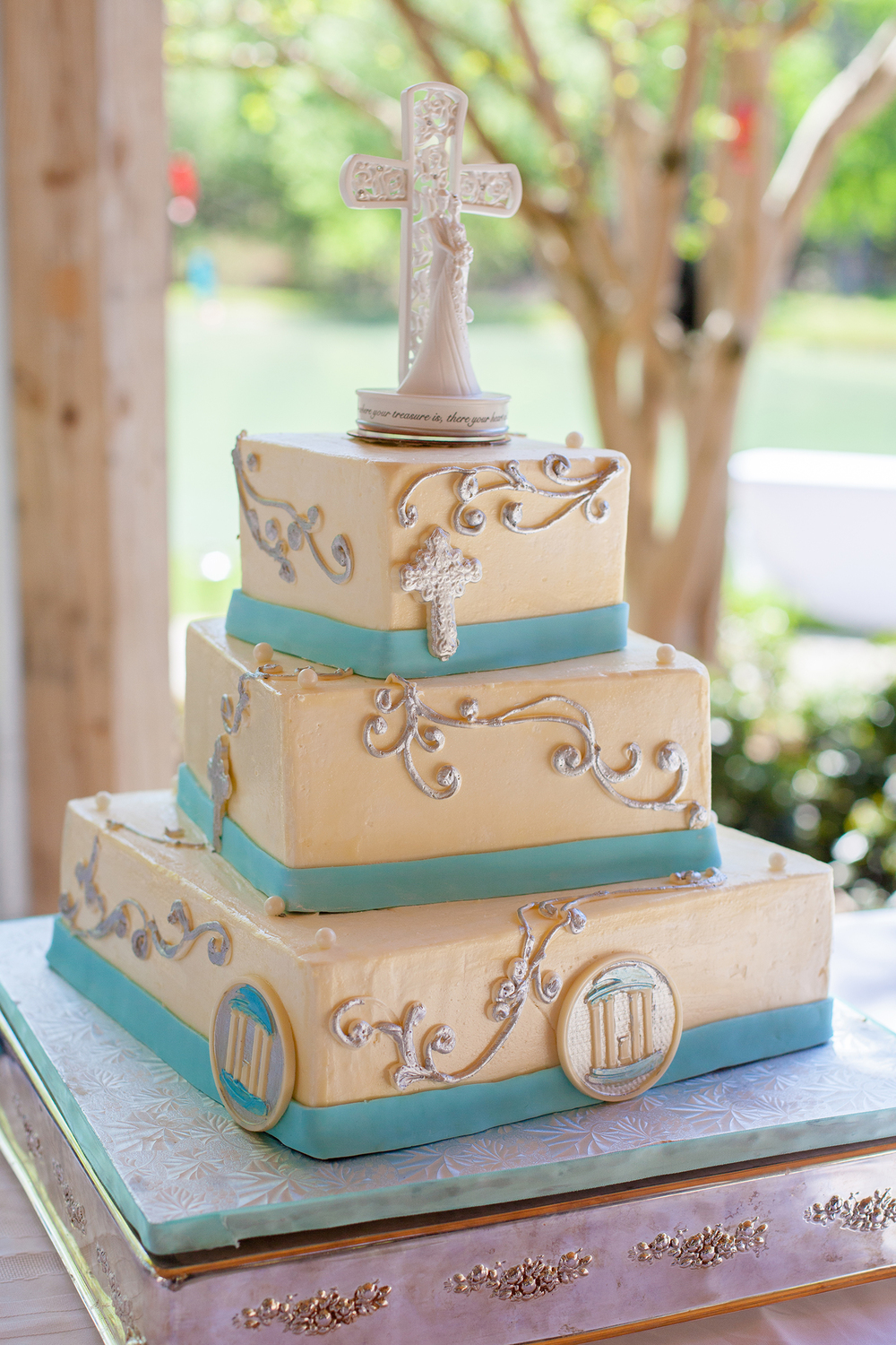 Carolina Blue Cake with Cross Details