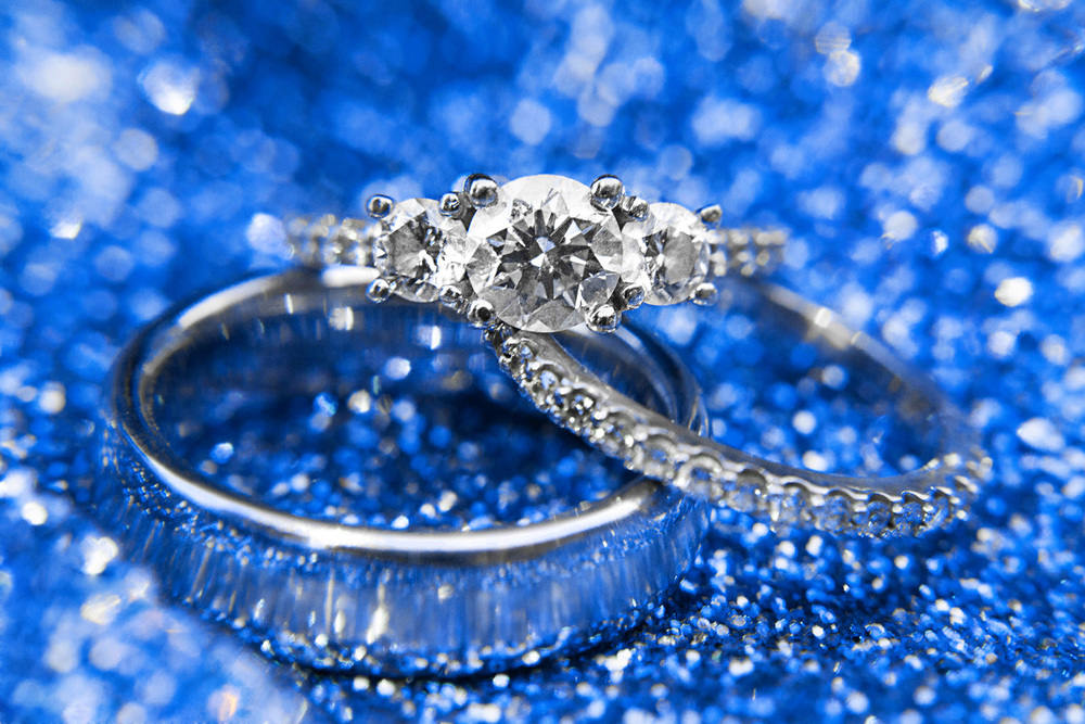 Sparkly Blue Engagement Ring Photography