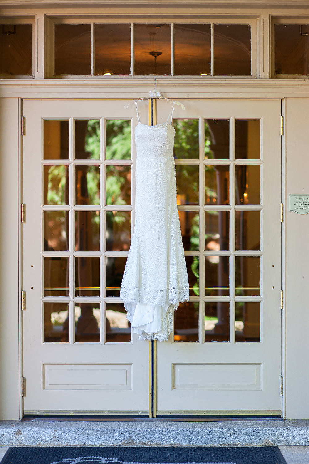 Wedding Dress in Front of The Carolina Inn