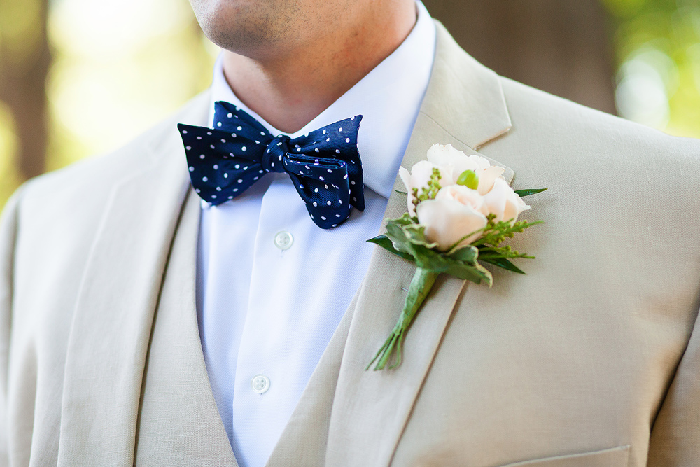 Navy Polka Dot Groom's Bow Tie