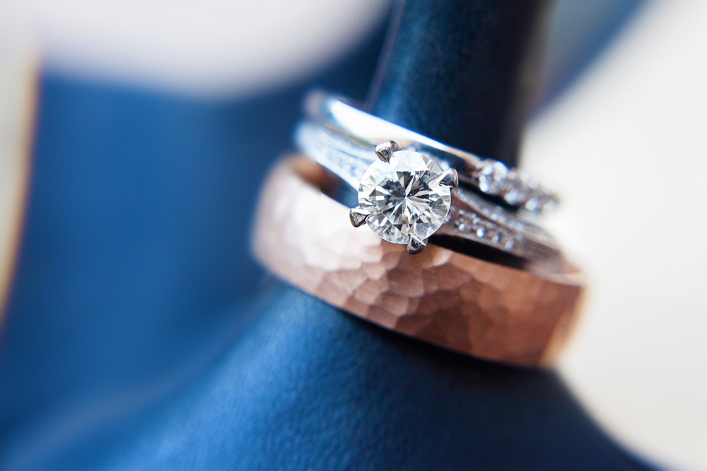 Navy & Copper Wedding Rings