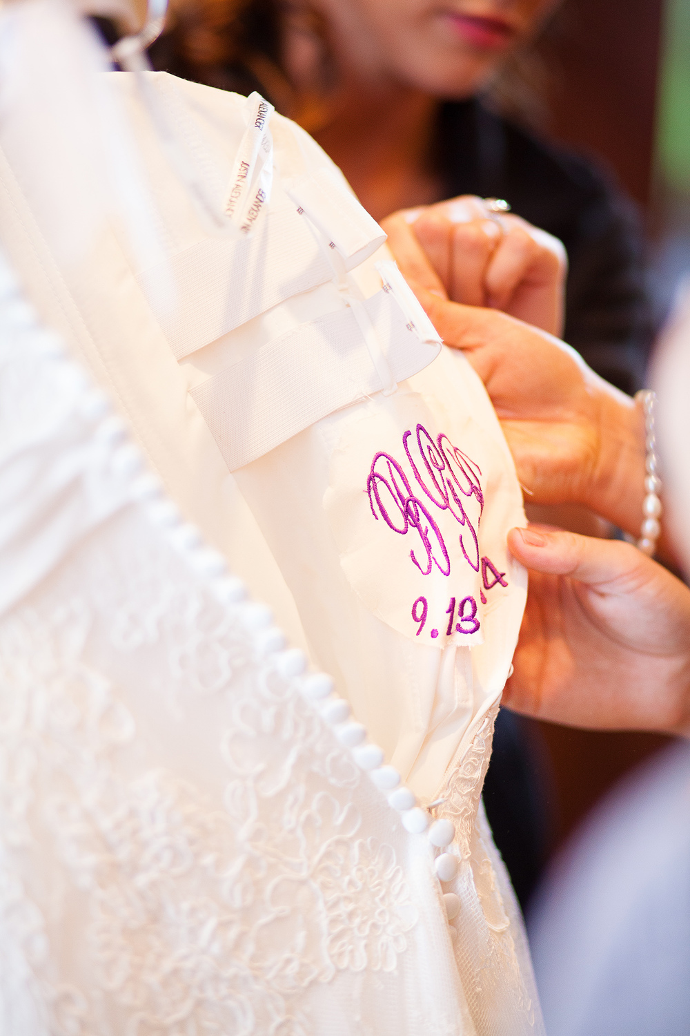 Initials Sewn in Bridal Gown
