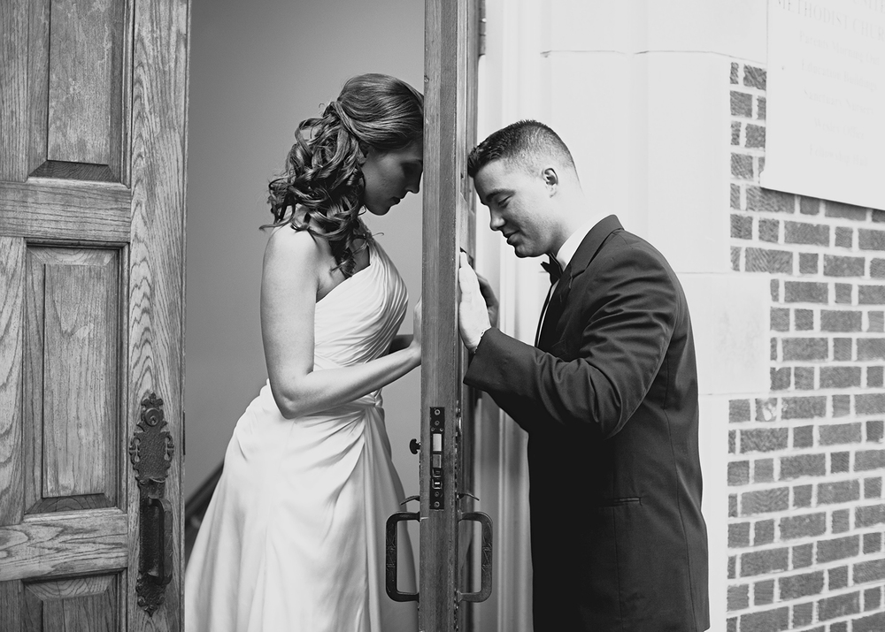 A Groom & Bride Praying Together before their Wedding in Raleigh, NC