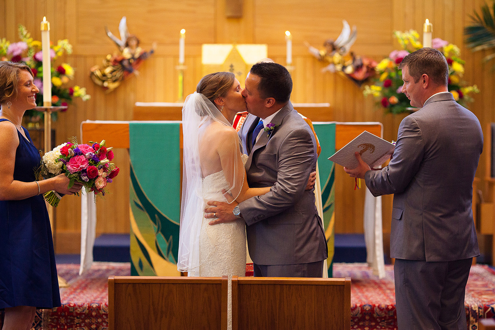 First Kiss at Our Lady of Lourdes Wedding