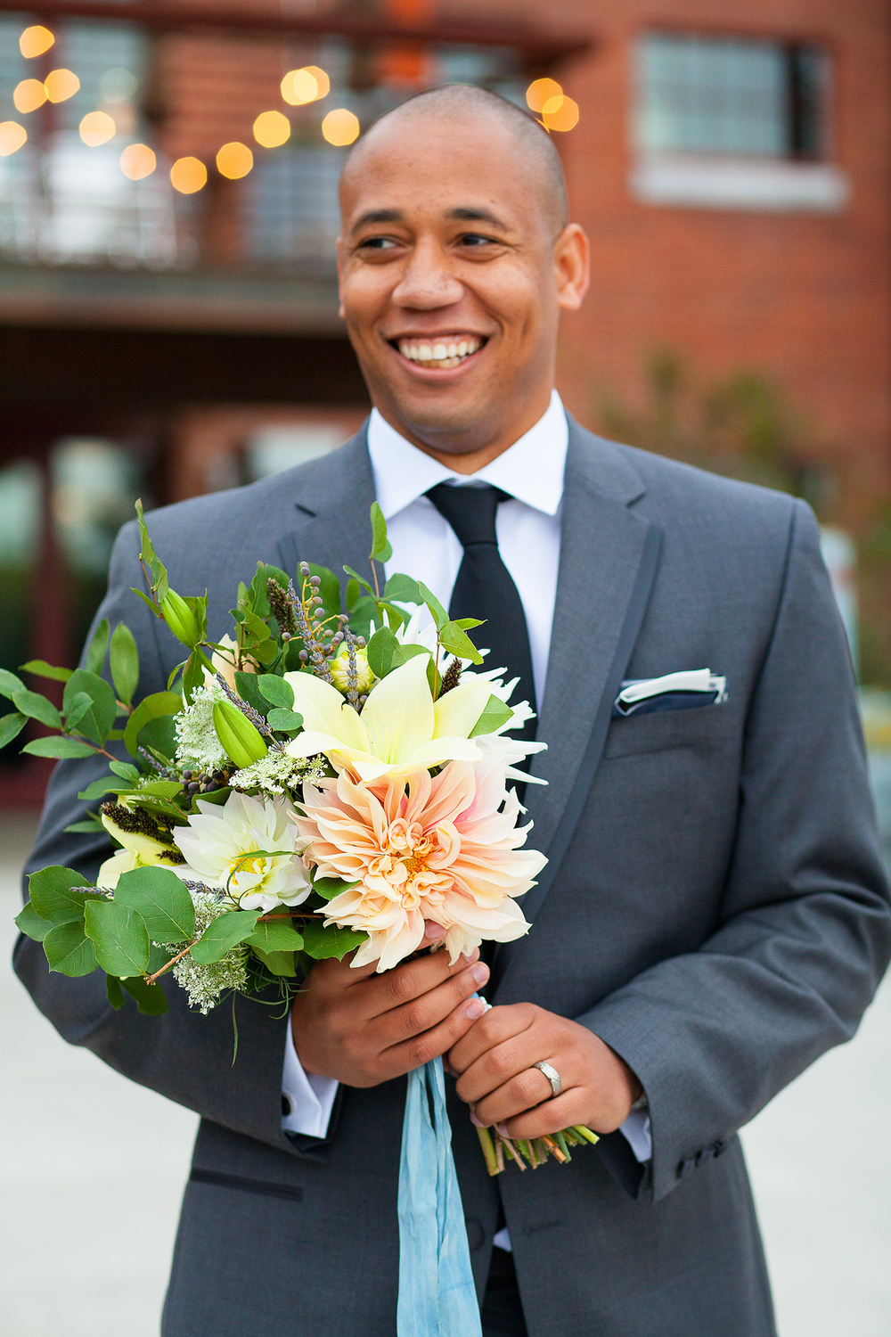 Groom with Fall Florals