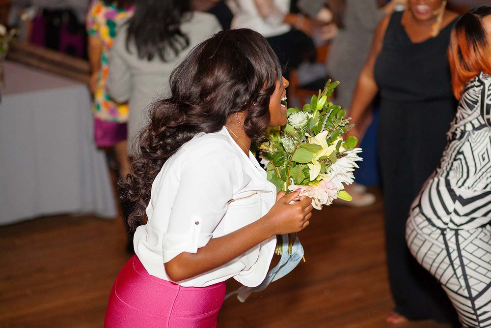 Girl Catching the Bouquet