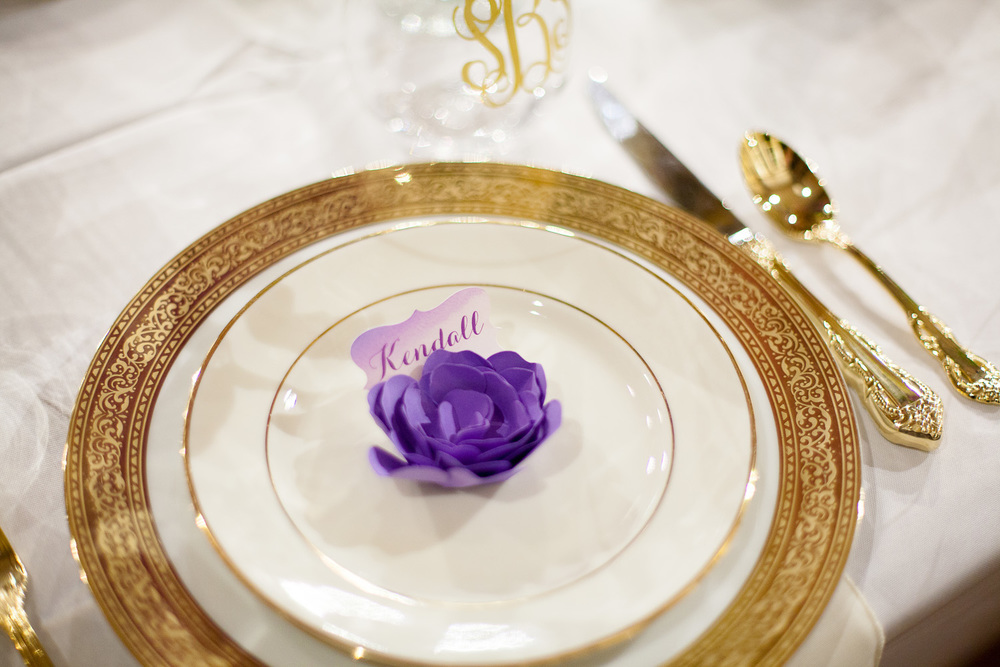 Purple Paper Flower Place Cards by Autumn Glow Design