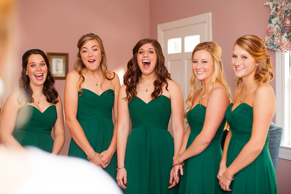 Bridesmaids Seeing Bride for the First Time