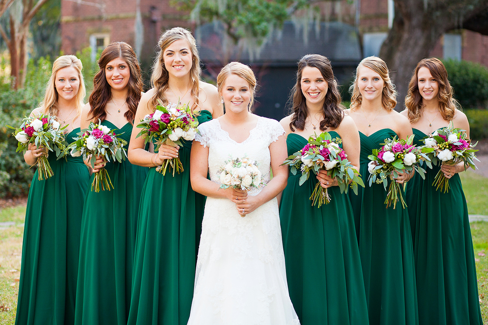 Long Emerald Bridesmaid Dresses