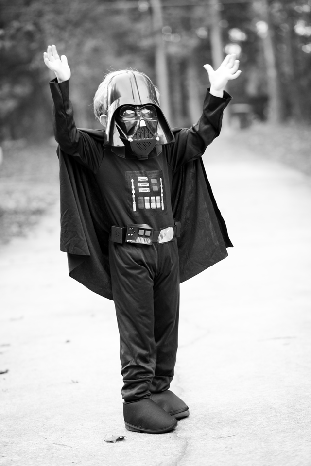 Darth Vader using the force - kids photography