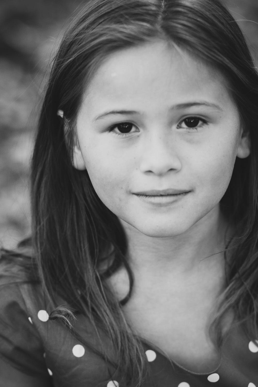 black and white portrait of girl in covington