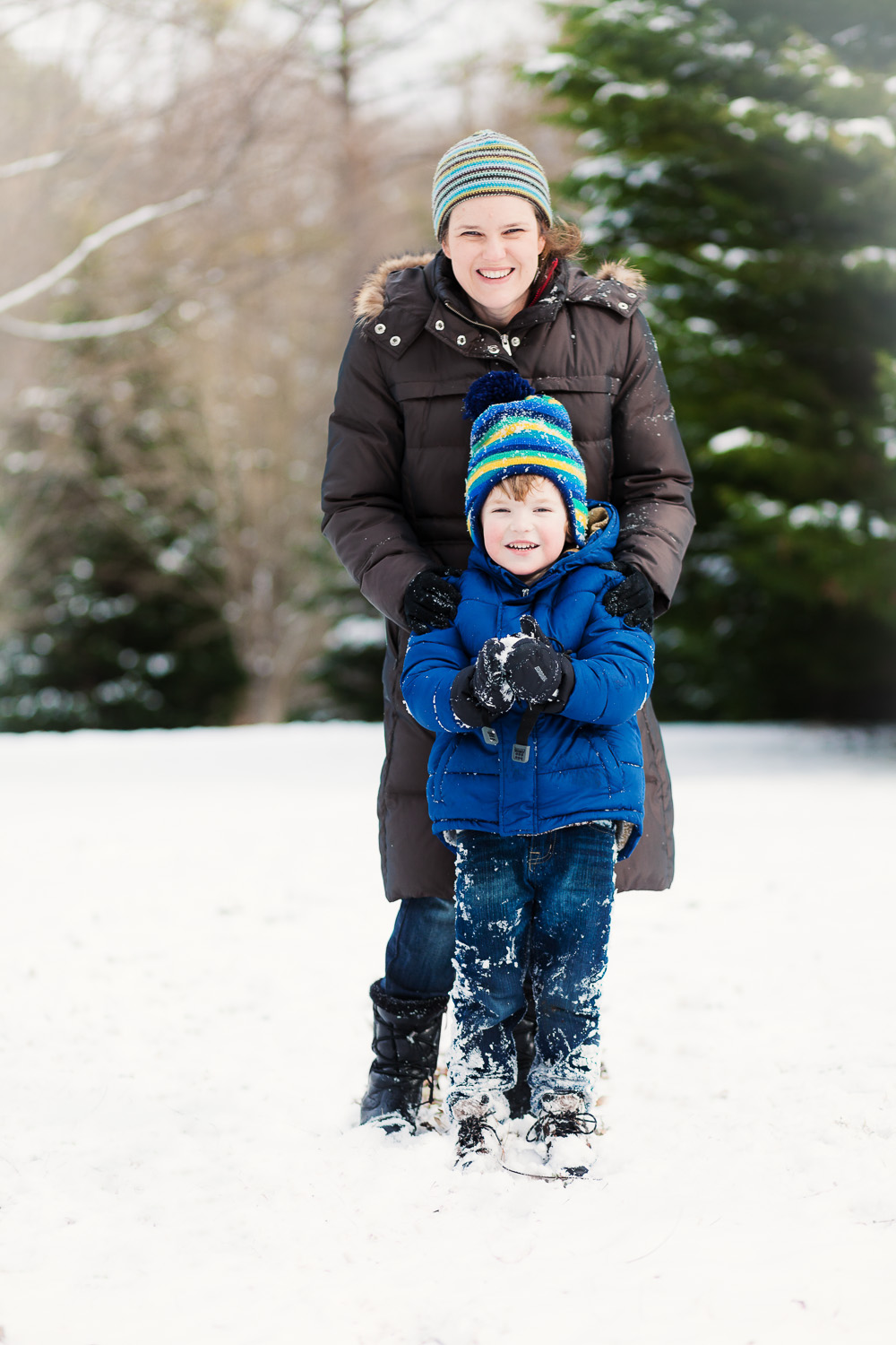 Atlanta family photographer boy and mom snow session