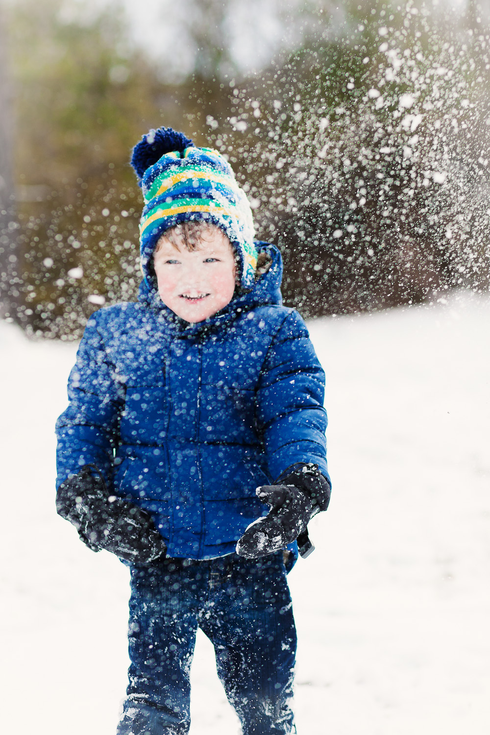 Atlanta kids photographer cool snowball shot