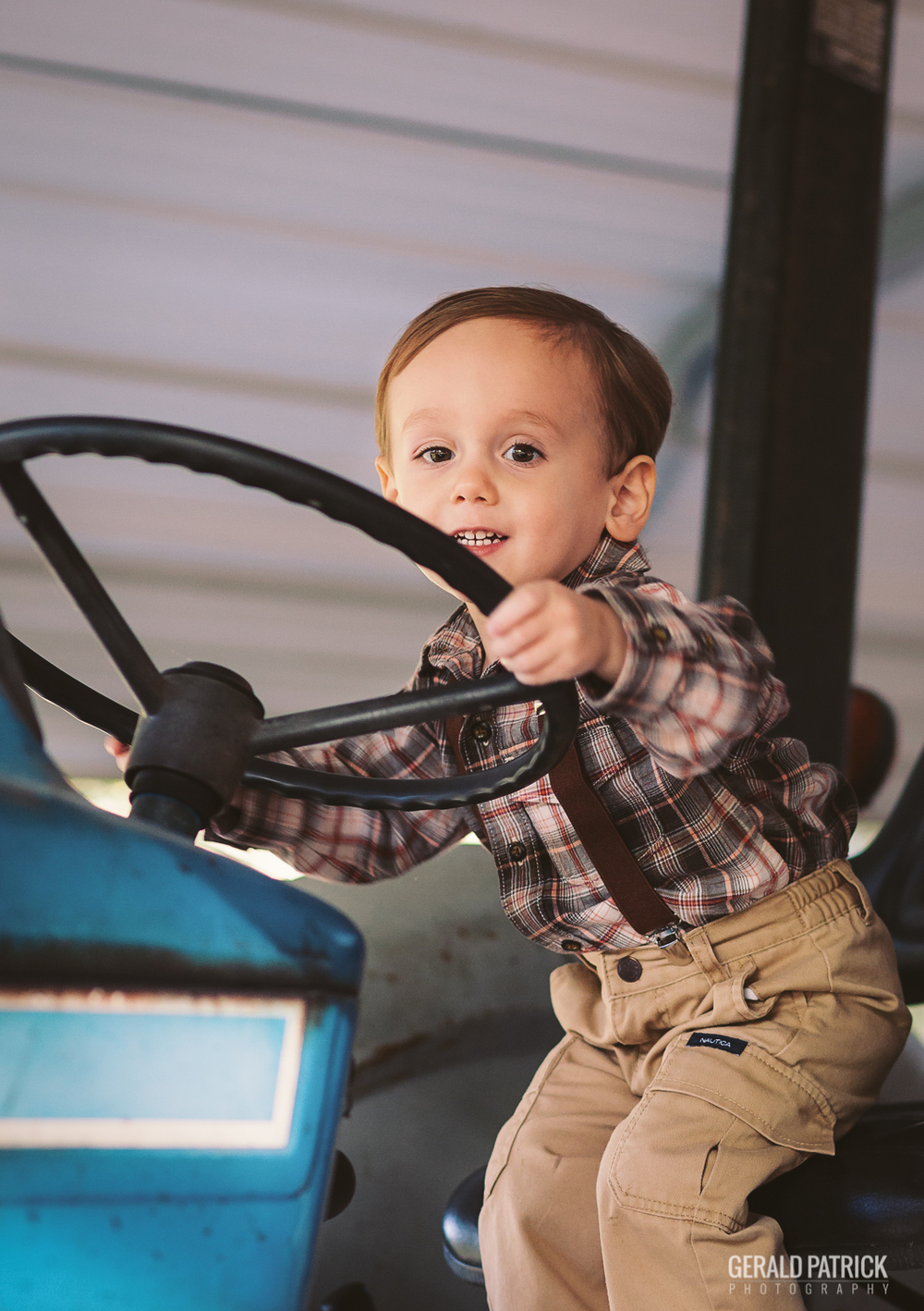covington photographer portrait on tractor