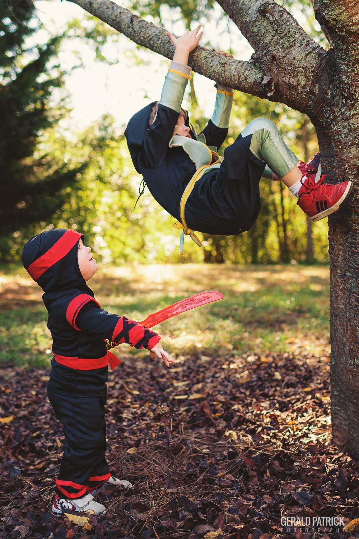 covington ga photographer halloween ninja brothers