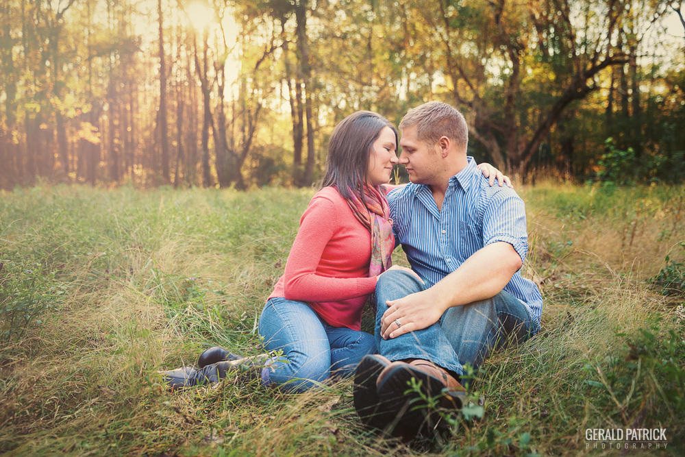 Covington GA photographer engagement photos in the meadow