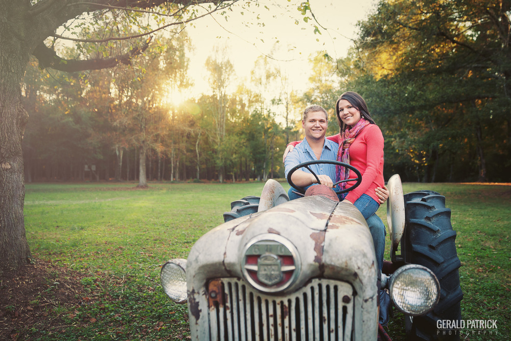 Covington GA photographer beautiful couple on tractor