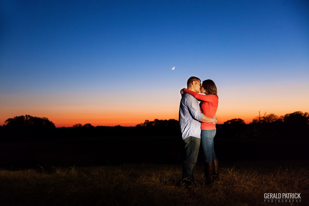 Covington GA photographer moonrise engagement shot