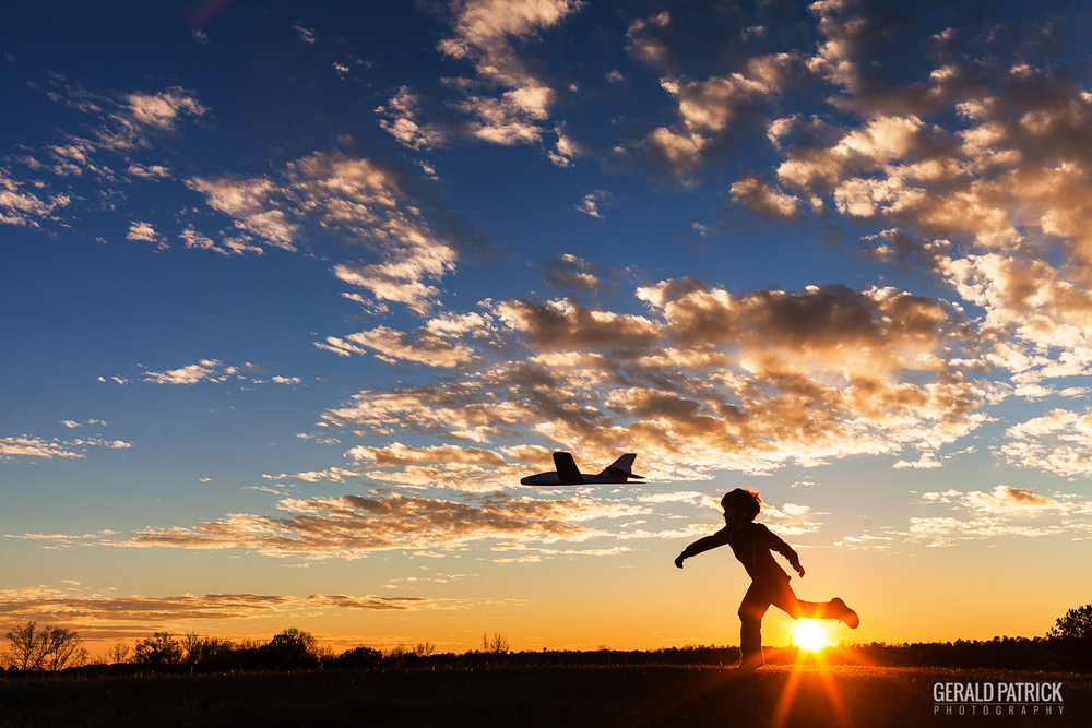 Photographer Covington GA flying plane at sunset