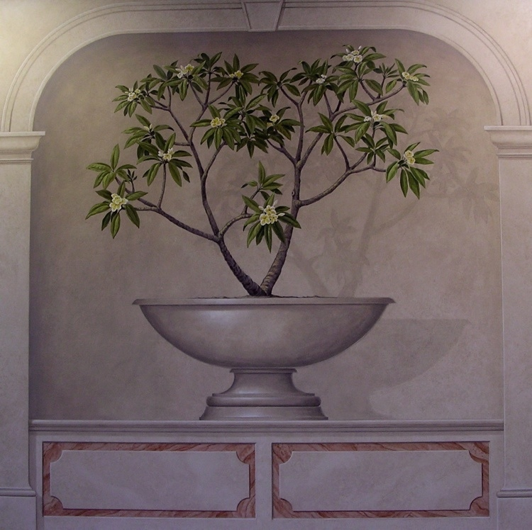 Botanicals in Trompe L'Oeil Niches with Faux Block