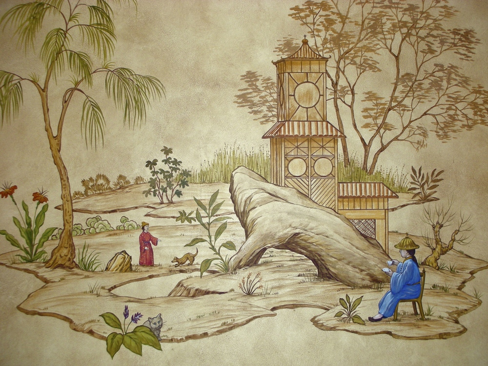 Chinoiserie Scene with Trompe L'Oeil moulding