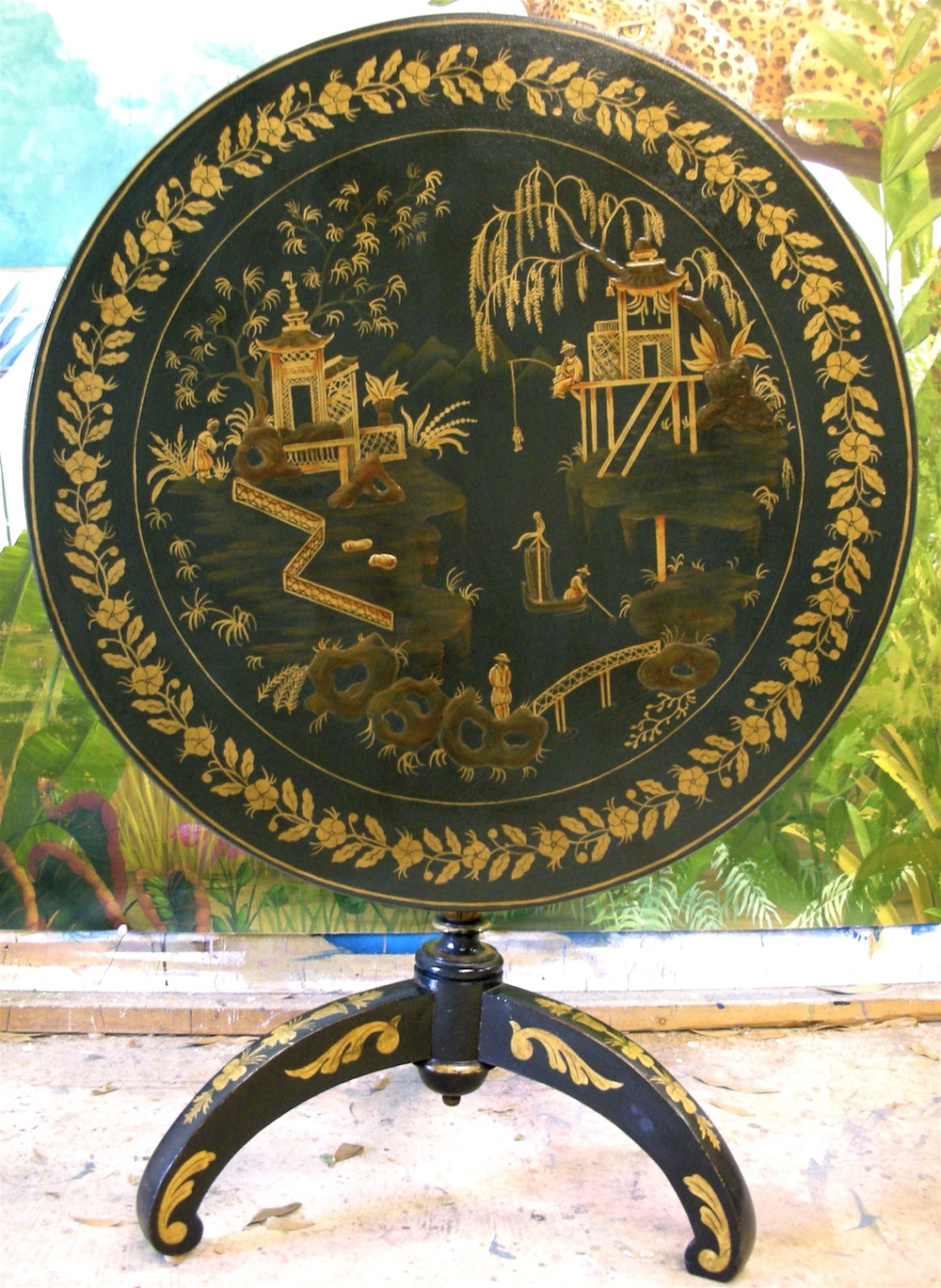 Chinoiserie Scene on Card Table
