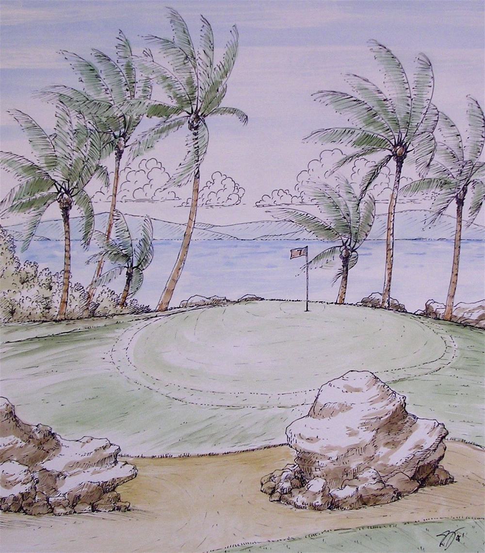 Tropical Golf Scene