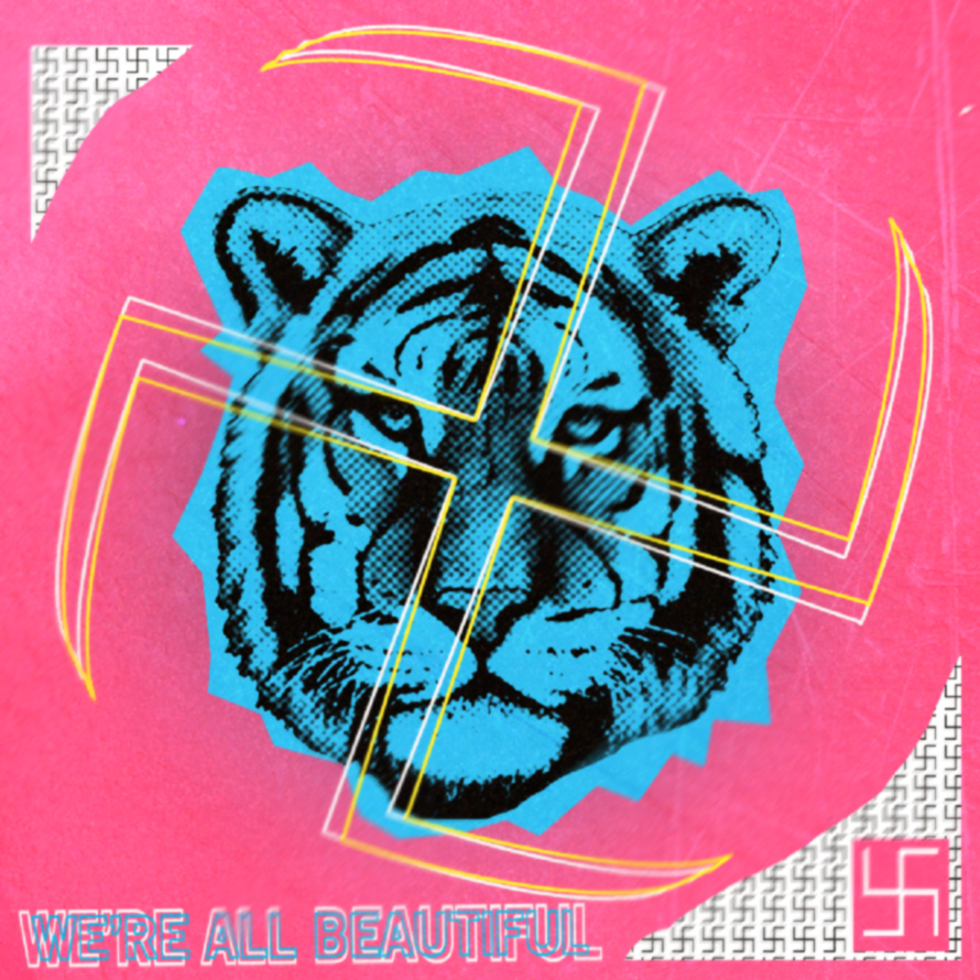 We're all beautiful. We're already perfect. That's what the neon/colorful swastika means. Don't change to fit what other people think you should be. Stand up boldy and be your perfect self as you are.