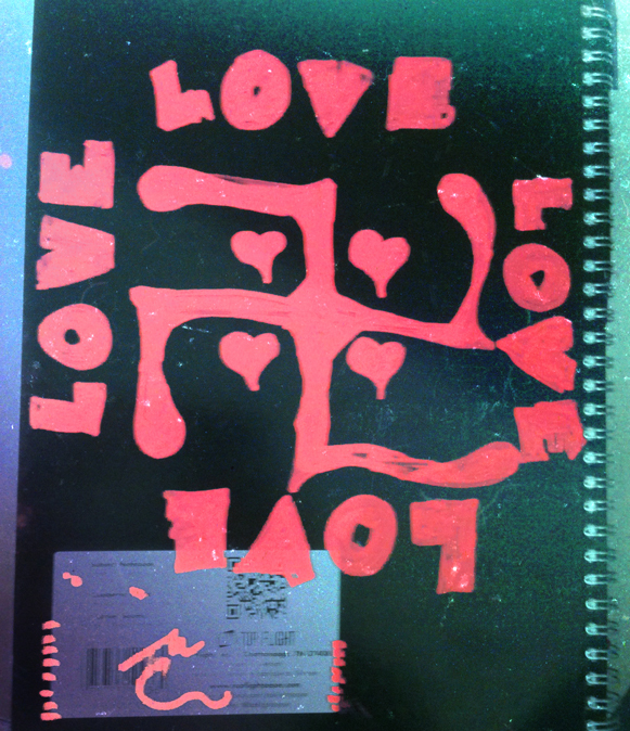 I painted the back of my journal. Sometimes you just get overcome with #LOVE.  If you can send place love toward a swastika then you just made LOVE stronger. WIN.