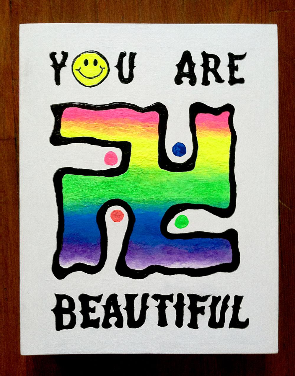 Rainbow Swastika - You Are Beautiful - painting by Sinjun
