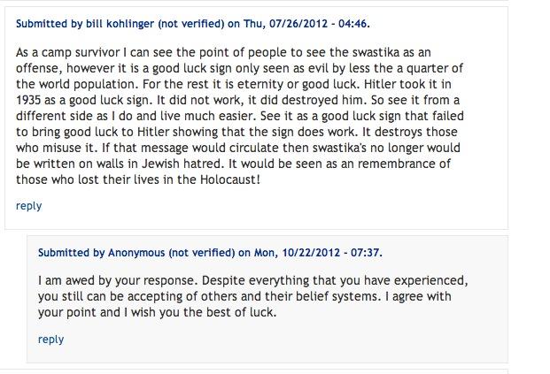 Amazing response from a  holocaust survivor.
