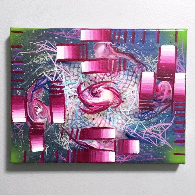 "Rest thine blessed eyes upon this swazilisiously sweet painting collab between @kaliptus and myself. acrylics, aerosol and blue interference medium on canvas, 10"" x 8"" /// ✨🙏✨ #painting #art #mech #light-tech #Swazi #space"