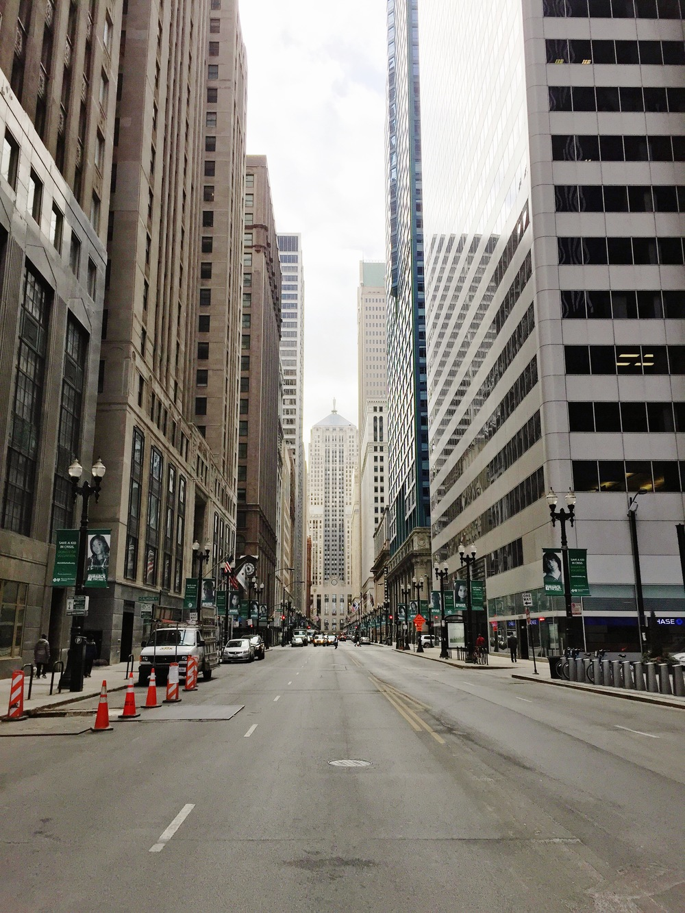 View of Chicago Board of Trade (CBOT), LaSalle and Washington