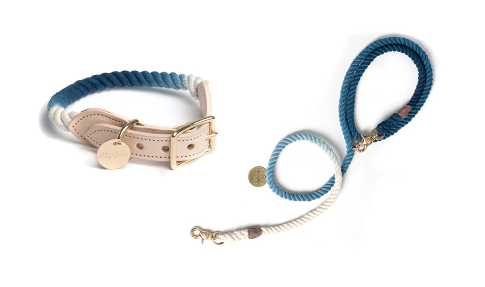 Found My Animal - indigo ombre rope dog leash and collar