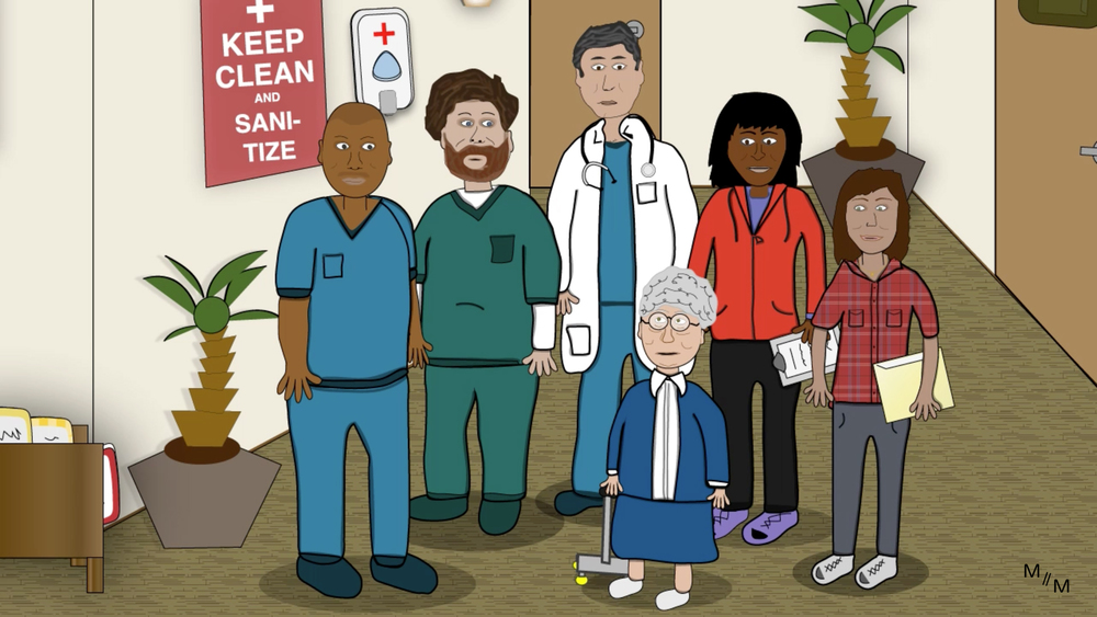 Gramma's Care Team (left-right) - nurse, physicians assistant, doctor, physical therapist, social worker