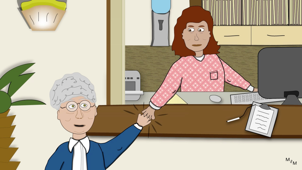 Gramma Lois and the Receptionist celebrating a good doctors appointment