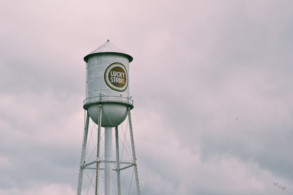 Lucky Strike Water Tower standing tall in the overcast skies