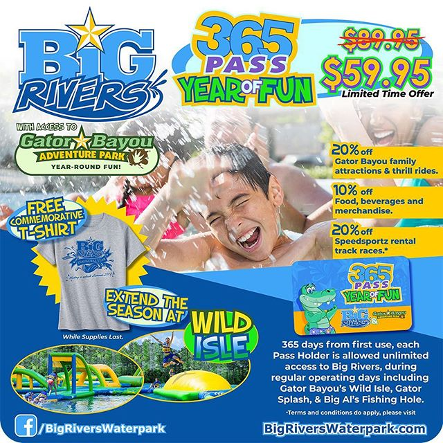 @bigriverswaterpark ANNUAL PASSES AVAILABLE NOW! ☀️💦🐊🎟 link in bio!