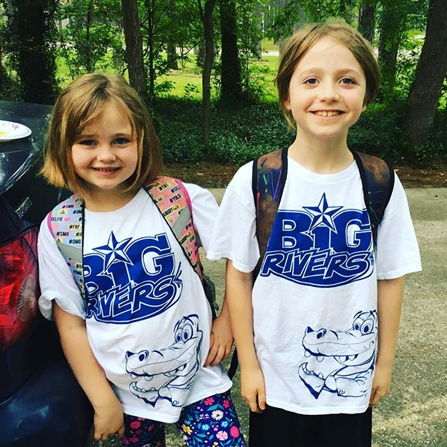 Put the kids to work today promoting @bigriverswaterpark with the promotional shirts I designed!