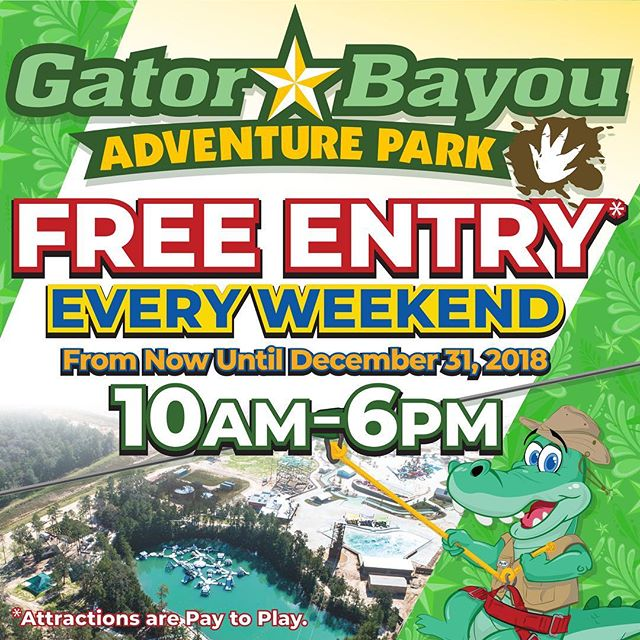 Don't forget, @GatorBayou is FREE to enter every weekend from now until the end of the year 10am - 6pm : : #GatorBayou #GatorBayouAdventurePark #BigRiversWaterpark #BigRivers #Free #FreeFun #FreeAdmission #FreeThingsToDoInHouston