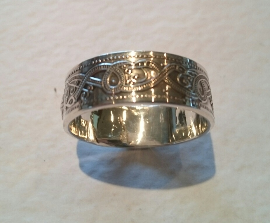 Irish Wedding Rings Sterling Silver Celtic Pattern Band Ring