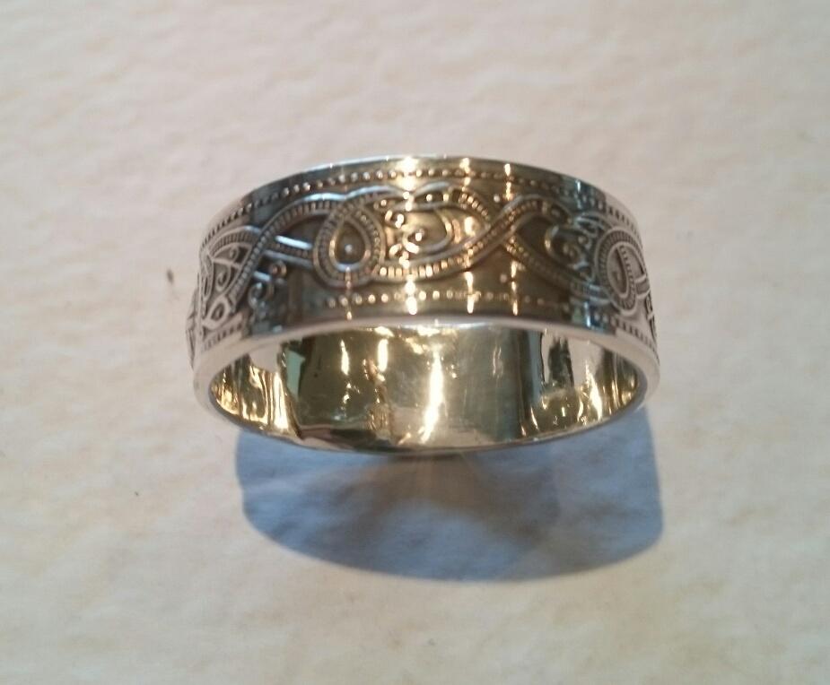 Irish Wedding Rings Sterling Silver Celtic Pattern Band Ring