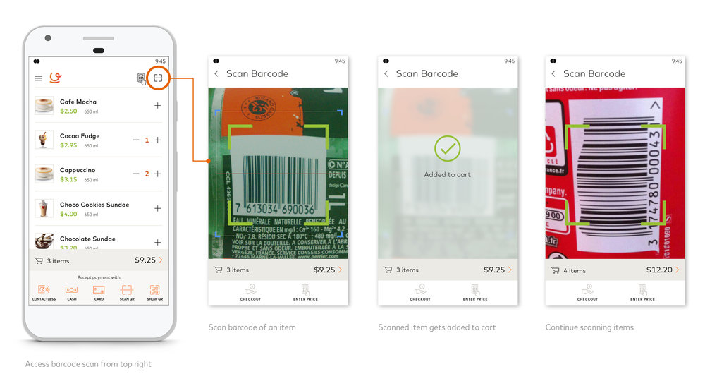 Merchants have the option of adding items to the cart by scanning barcodes of the products