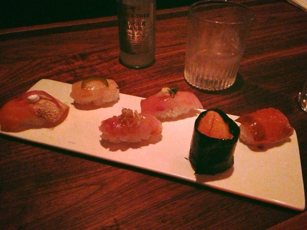 Sushi (L-R): Scottish Salmon, Scallop, Snapper, Hamachi, Chopped Beef and Uni, Smoked Arctic Char