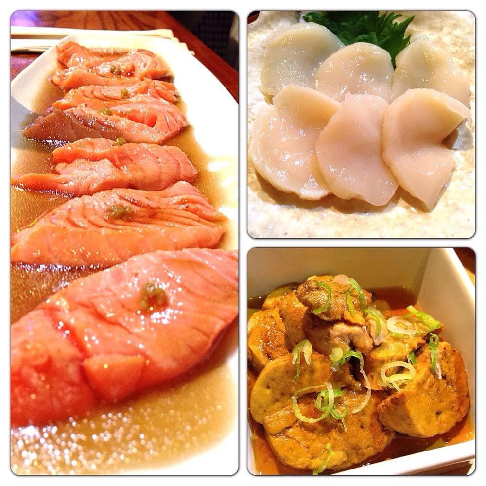 Salmon Carpaccio, Creamy Scallop Sashimi, Ankimo
