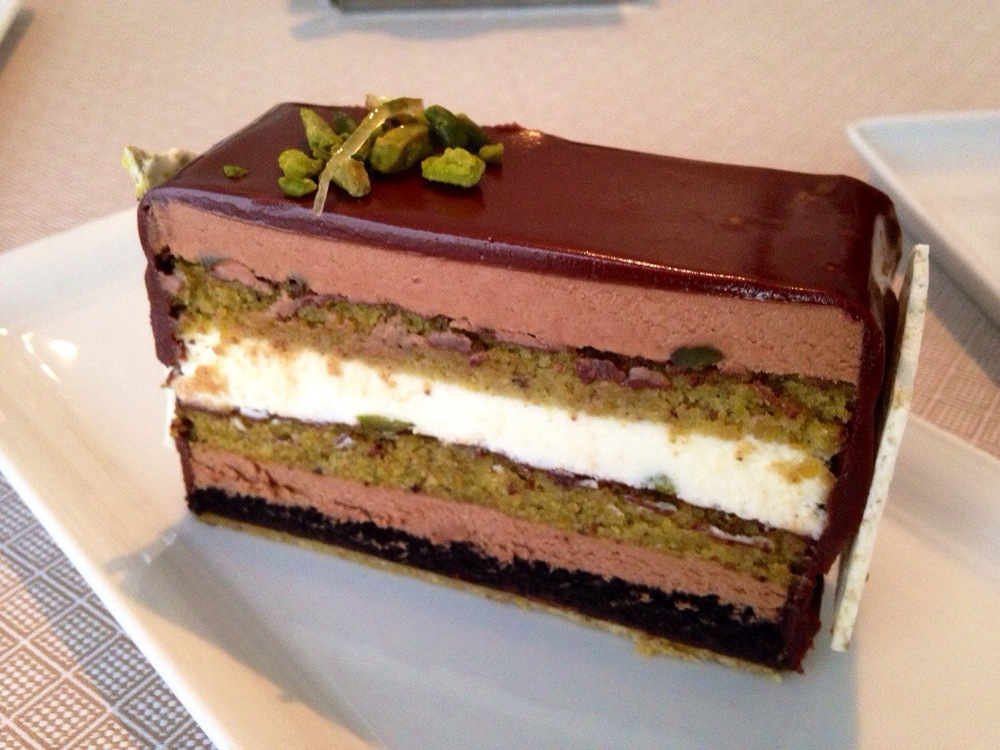 Chocolate and Pistachio Layer Cake