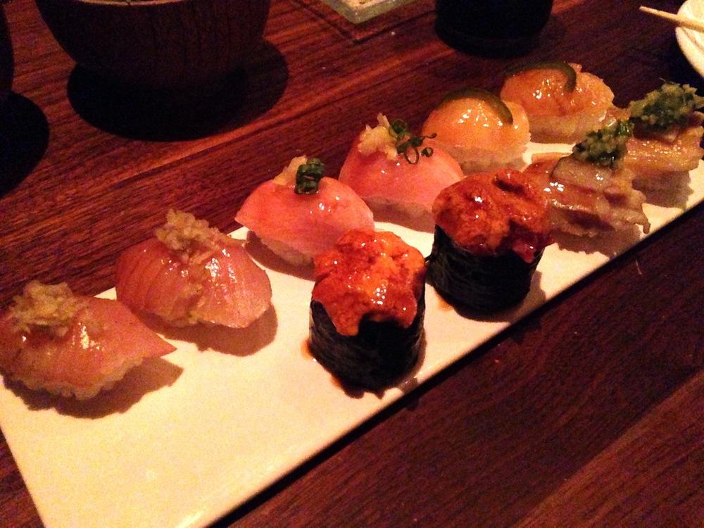 Sushi, second trip (L-R): Mackerel, Hamachi, Scallop, Chopped Beef and Uni, Pork Belly