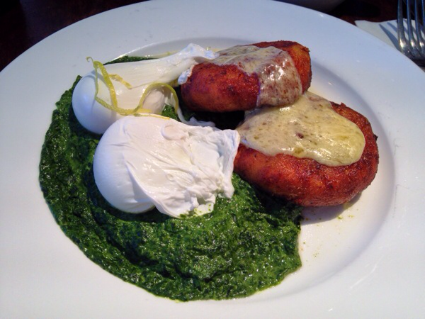 Pureed Spinach with Poached Eggs, Melted English Cheddar and Potato Pancakes